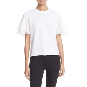 See by Chloé White Embellished Sleeve Top